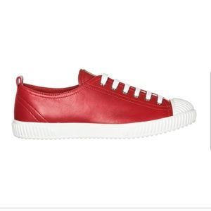 PRADA Red 🔥 Leather Lace Up Trainer Sneakers 7.5